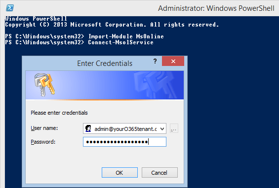 Connect MsolService; PowerShell Prompts For You Office 365 Tenant  Credentials. 2014 12 23_114924