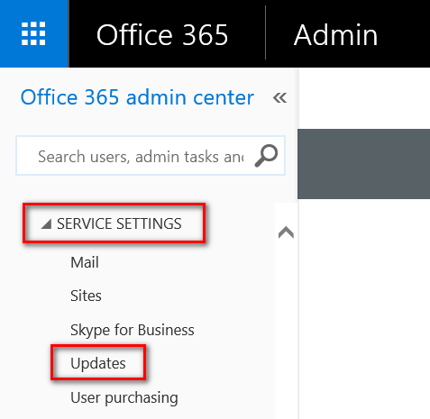 Office 365 Admin Center - Service Settings