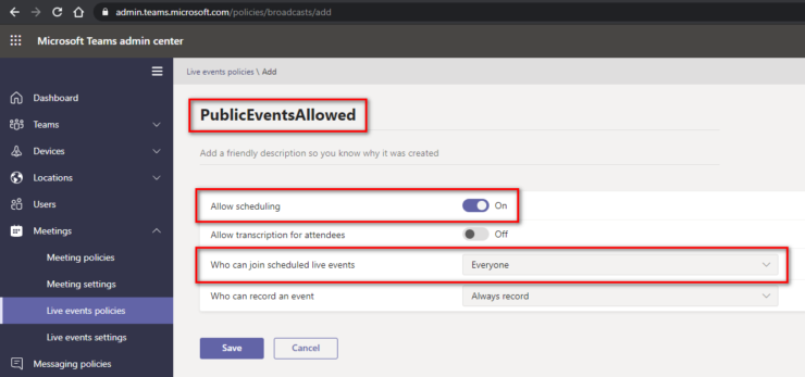 Allow Public Live Events